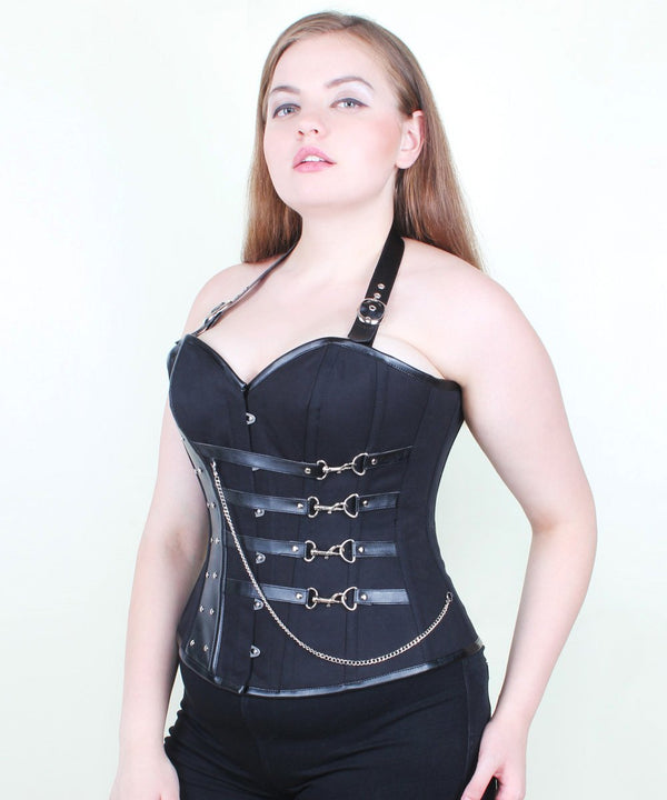 Marli Black Cotton Gothic Overbust Corset