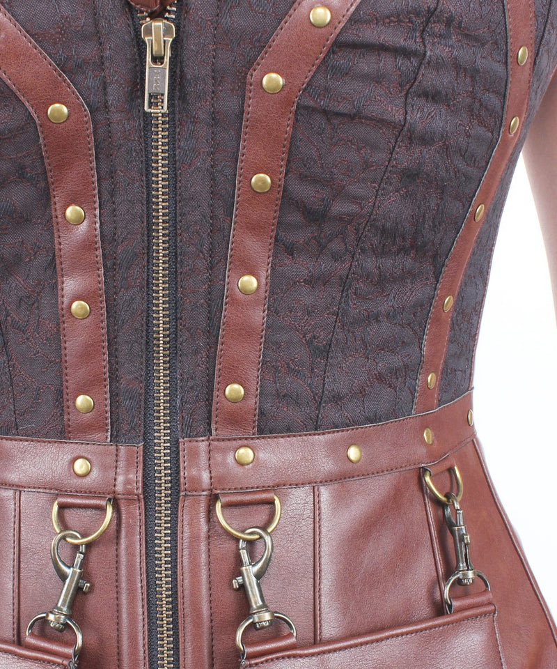 Analiyah Cotton Lined Brocade Steampunk Overbust Corset