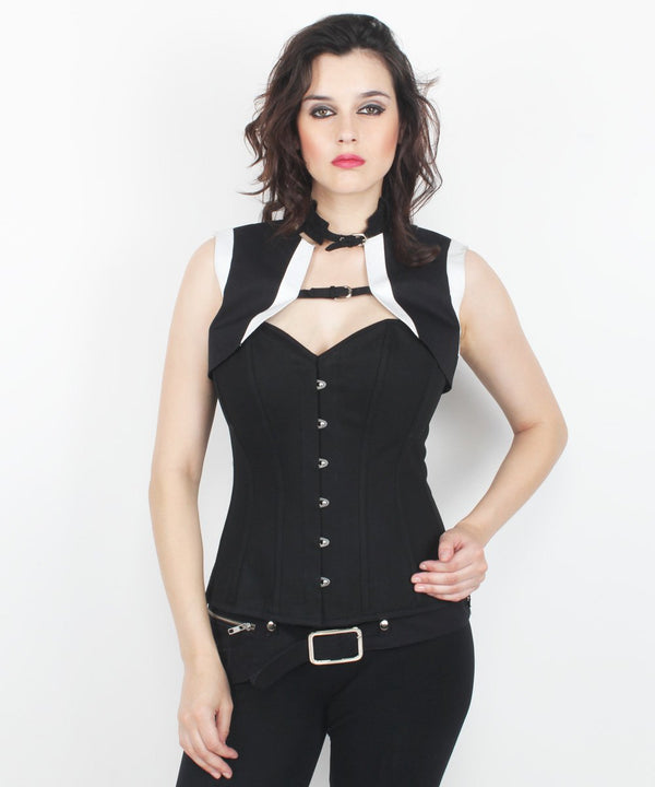 Arie Black Cotton Gothic Overbust Corset with Shrug