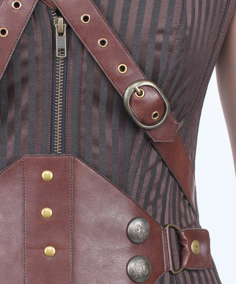 Emrie Steampunk Brown Brocade Overbust Corset