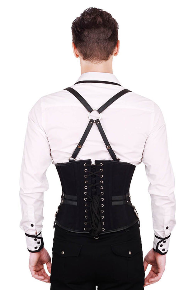 Draven Custom Made Gothic Black Cotton Men's Corset