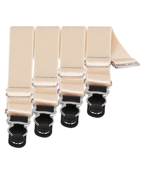 4 x Steel Suspender Clips in Ivory