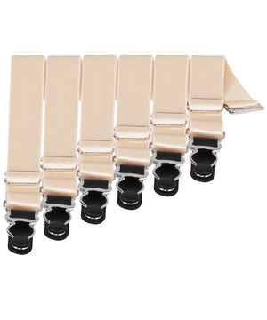 6 x Steel Suspender Clips in Ivory