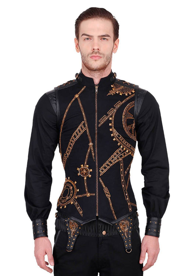 Dominik Custom Made Embroidered Cotton Men's Corset