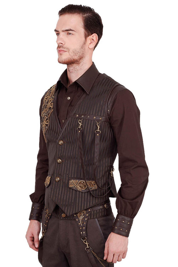 Keifer Custom Made Steampunk Embroidered Men's Waist Coat