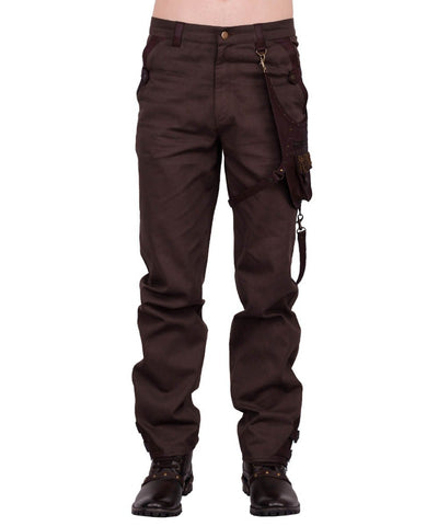 Emest Steampunk Men's Trouser in Brown Cotton