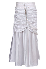 Maya Custom Made White Gothic Ruched Skirt
