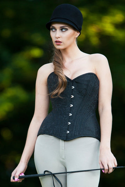 Fina Custom Made Brocade Overbust Black Corset