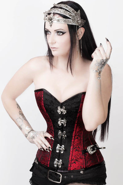 Steampunk Corset, Maroon Corset, Corset With Shrug