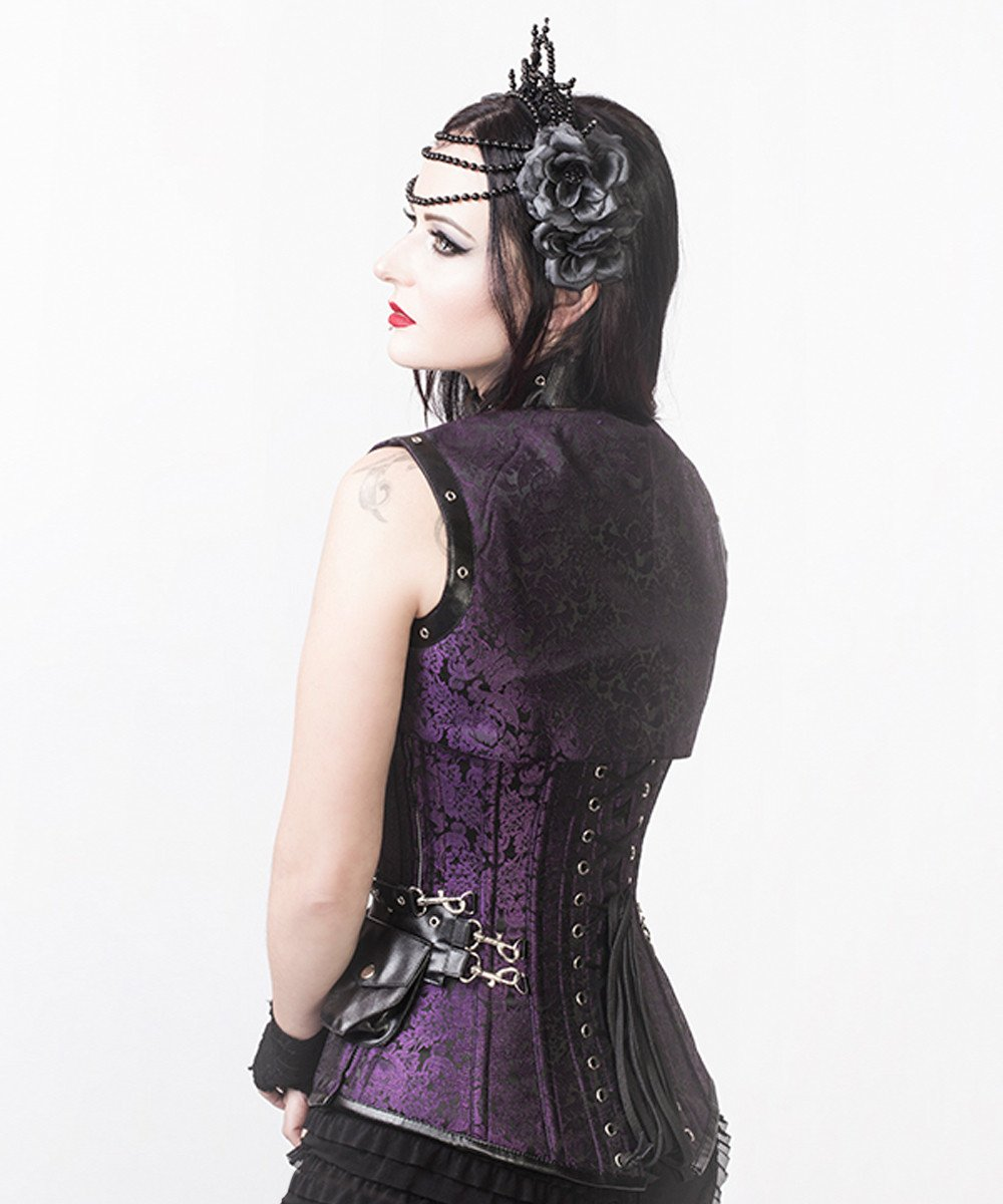 Markos Purple Steampunk Overbust Corset with Shrug