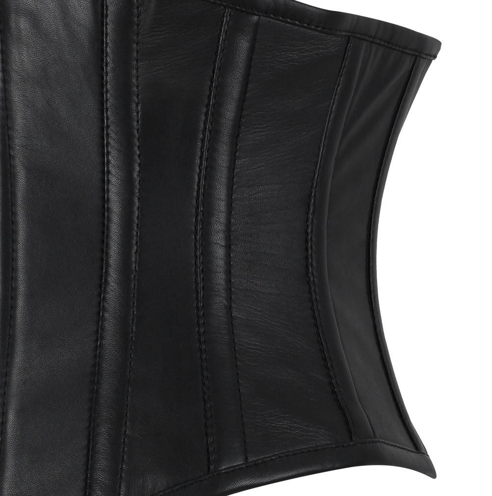 Edlyn Underbust Genuine Sheep Napa Leather Black Corset