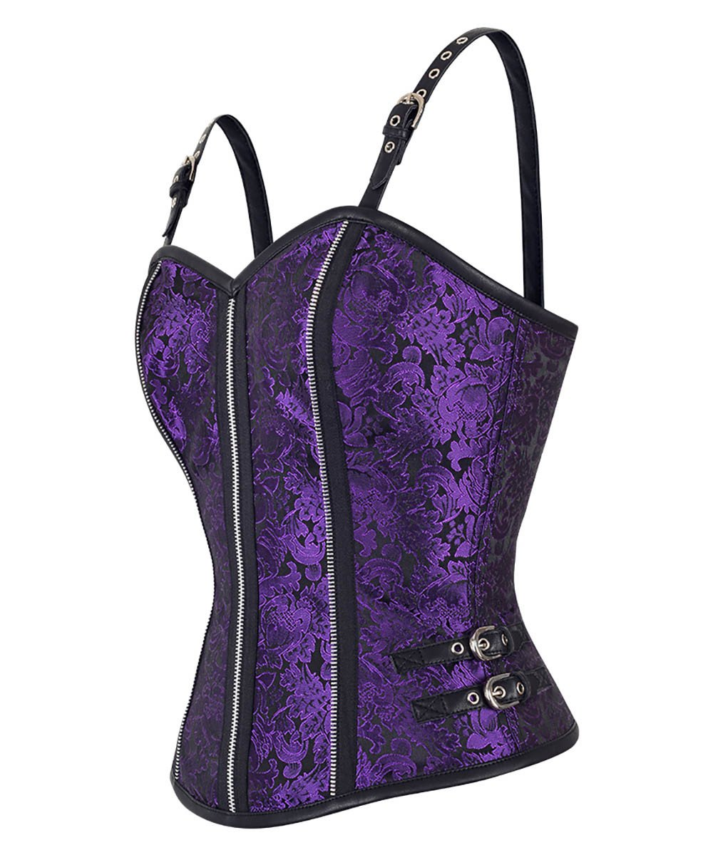 Cavan Gothic Shoulder Straps Purple Corset Top