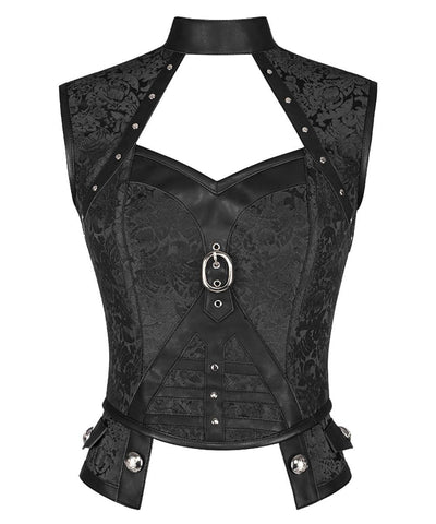 Darrellyn Steampunk Black Corset Top with Halter Neck