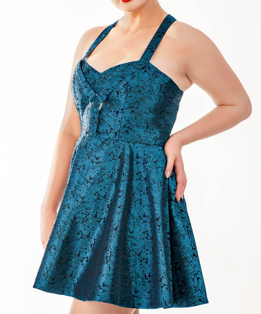Malloy Skater Halter Neck Dress in Brocade