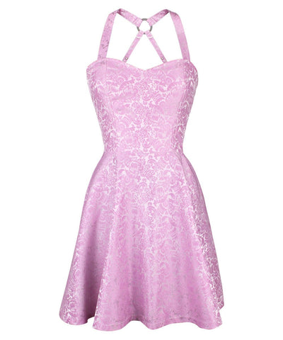 Cadell Pink Skater Dress in Brocade