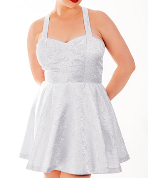 Aeneas White Brocade Skater Dress