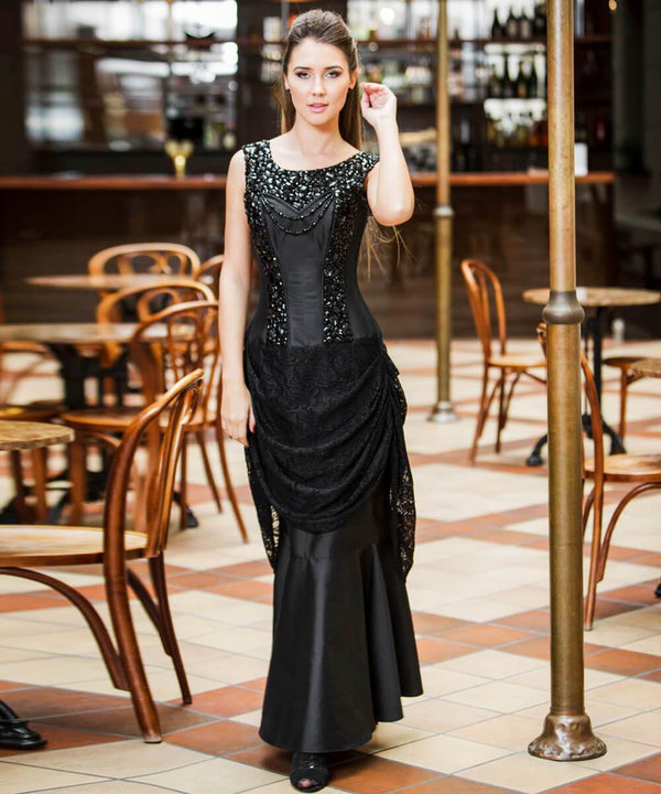 Reece Embroidered Black Corset Dress