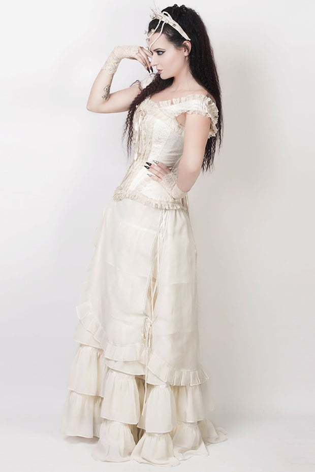 Agam Ivory Long Victorian Inspired Skirt