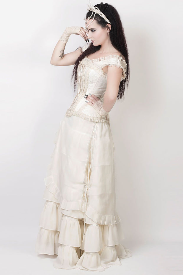 Agam Custom Made Ivory Long Victorian Inspired Skirt