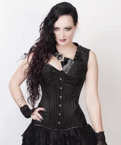 Lavonne Black Brocade Gothic Corset with Bolero