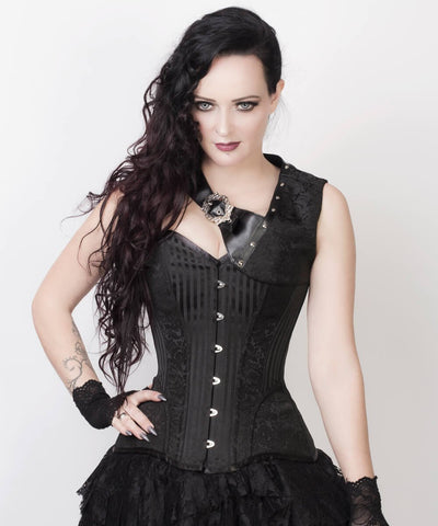 Roddy Gothic Black Brocade Corset with Bolero