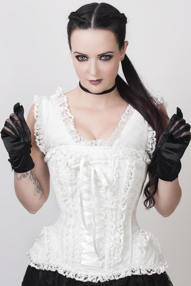 Victorian Inspired Steel Boned White Corset