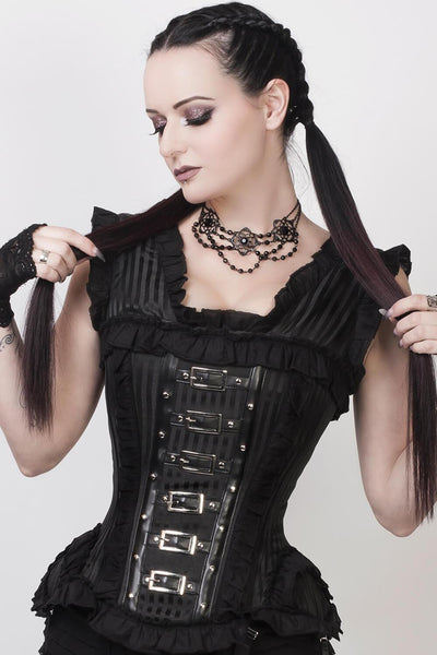 Cadfael Custom Made Black Brocade Victorian Inspired Corset