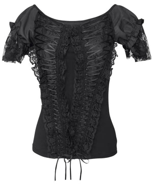 Calogera Black Gothic Broad Neck Lace Overlay Top