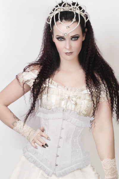 White Underbust Corset with Lace Frill