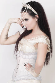 Cadmus Custom Made White Underbust Corset with Lace Frill