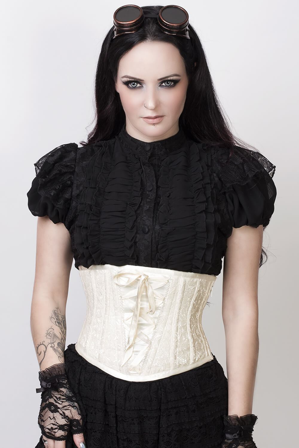 6013aa88783 Afon Underbust Ivory Corset with Lace Overlay