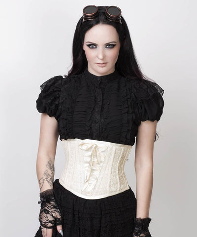 Afon Underbust Ivory Custom Made Corset with Lace Overlay