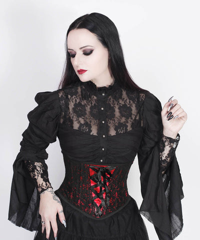 Cenhelm Underbust Red Custom Made Corset with Lace Overlay