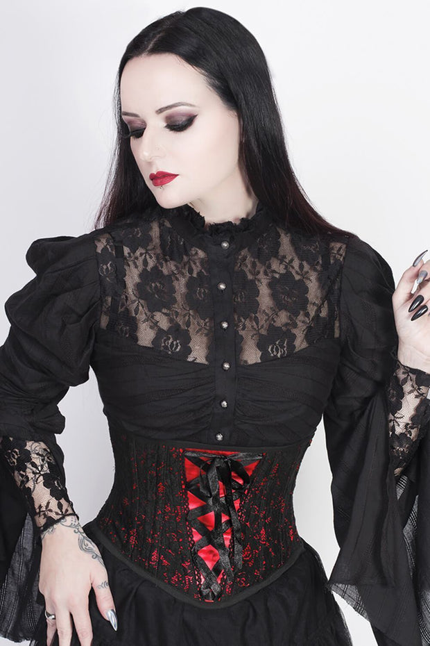 Cenhelm Custom Made Underbust Red Corset with Lace Overlay