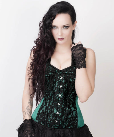 Agape Lace Overlay Green Corset with Halter Strap