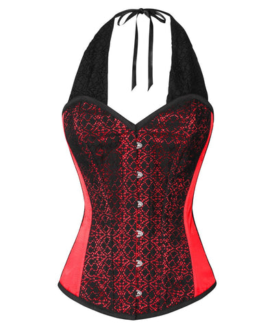 Caesar Lace Overlay Red Corset with Halter Strap