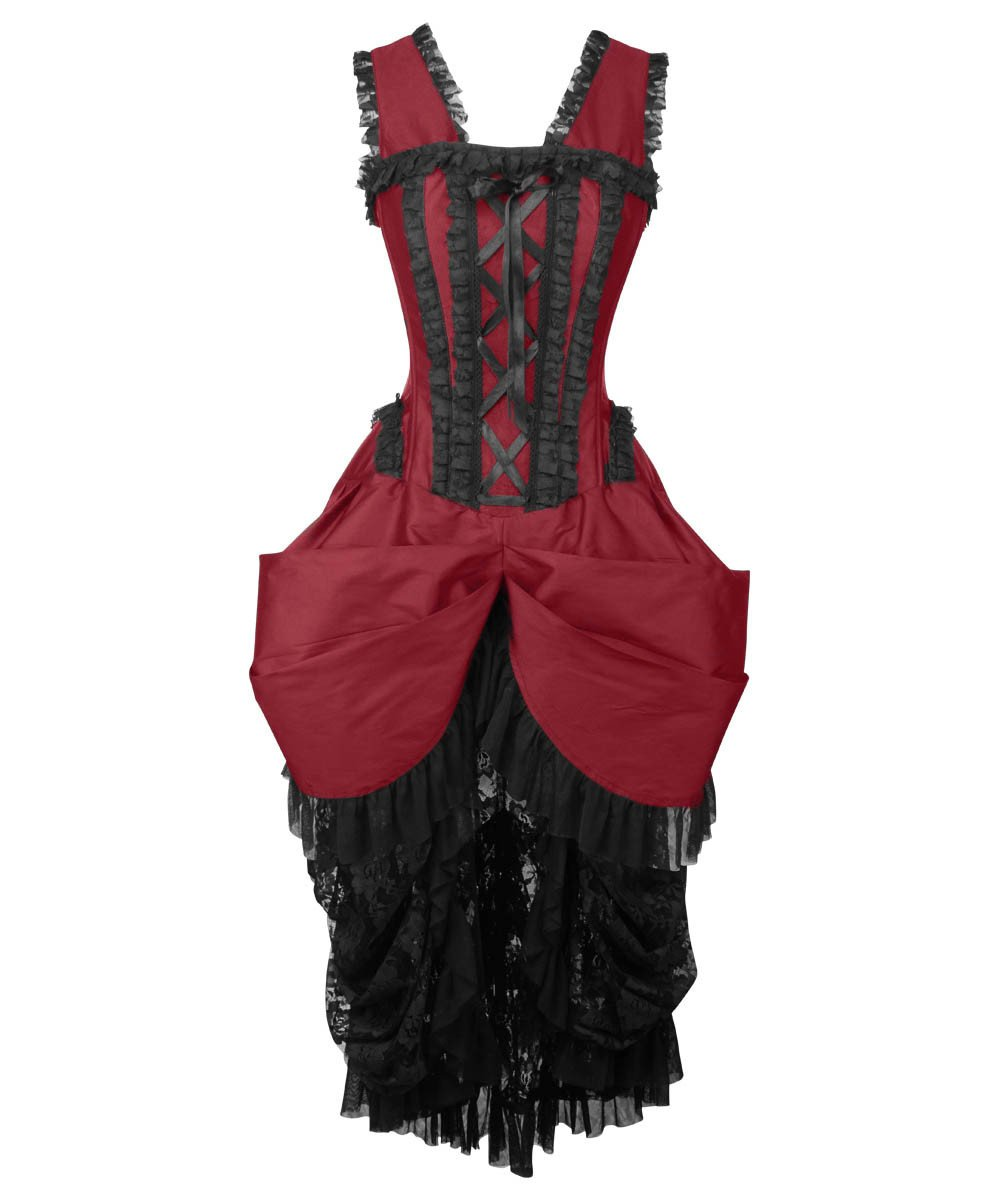 Cindra Burgundy Victorian Inspired Dress
