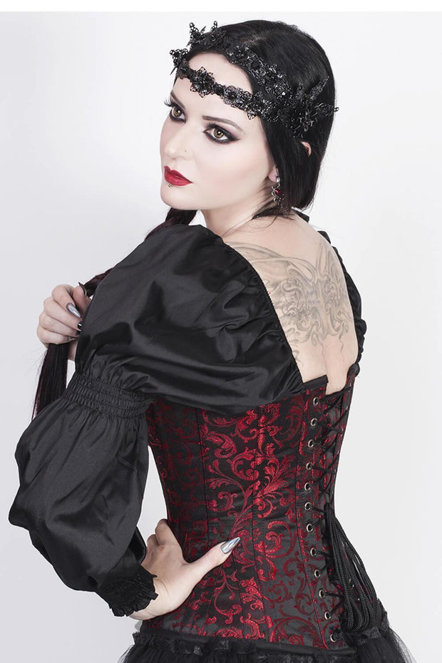 Lachtna Custom Made Skull Busk Corset with Attached Sleeve