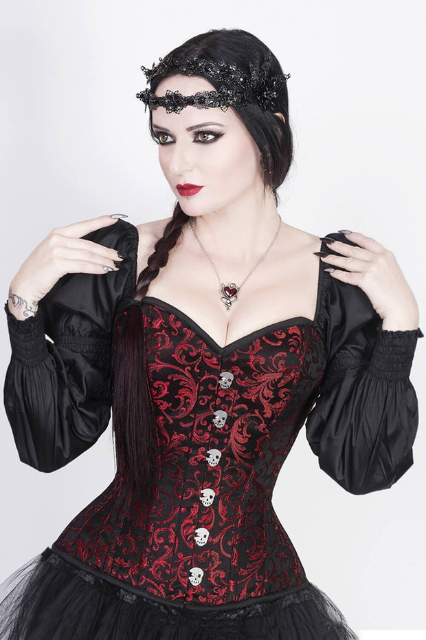 Lachtna Skull Busk Corset with Attached Sleeve
