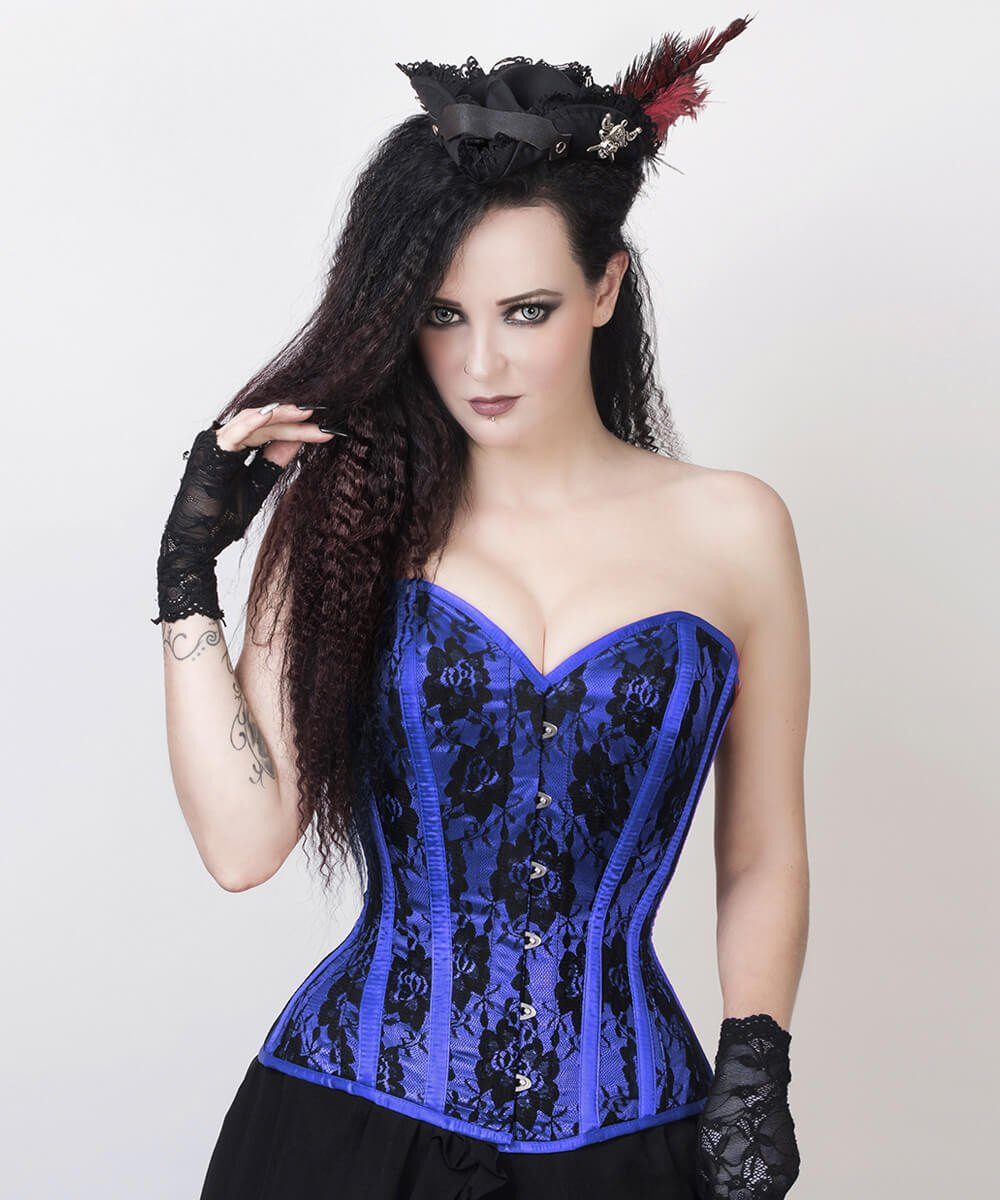 Florrie Blue Overbust Corset with Bolero Jacket