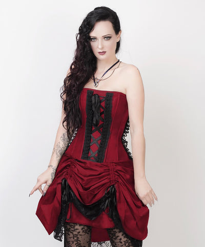 Claudio Victorian Inspired Burgundy Corset Dress with Bolero