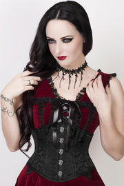 Cinta Black Brocade Corset with Skull Busk