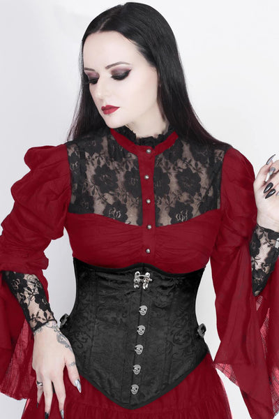 Black Corset with Skull Busk Opening