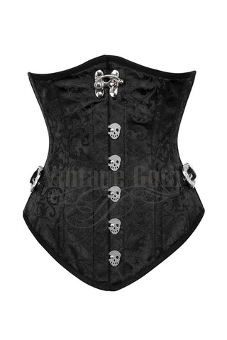 Ronen Steampunk Black Corset  with Skull Busk Opening