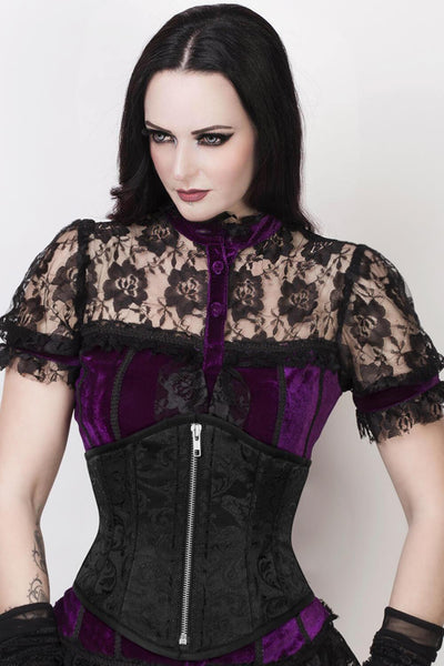 Fedele Custom Made Underbust Black Brocade Corset