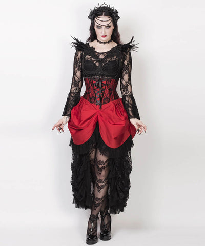 Finnur Red Burlesque Underbus Custom Made Corset Dress