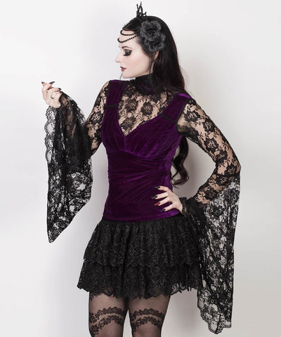Caitria Long Flared Sleeve Gothic Purple Top