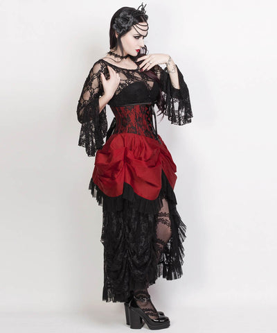 Laureen Burgundy Burlesque Underbus Custom Made Corset Dress