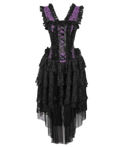 Caelan Victorian Inspired Corset Dress in Purple and Black