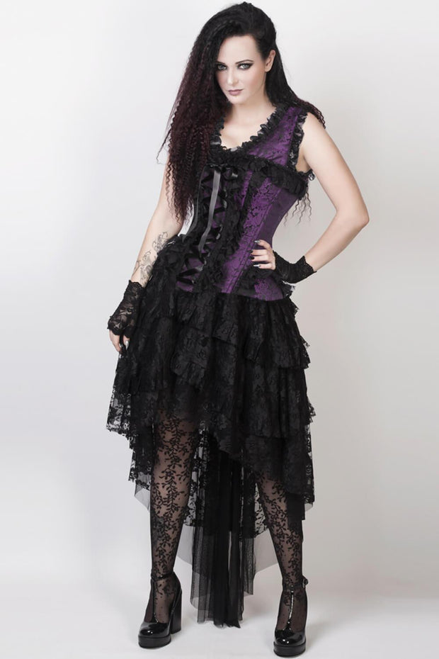Caelan Custom Made Victorian Inspired Corset Dress in Purple and Black
